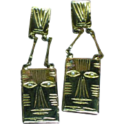 Laurel Burch Goldtone Cat Pierced Dangle Earrings