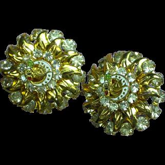 Rhinestones Enamel Peace Dove Moon Pierced Earrings