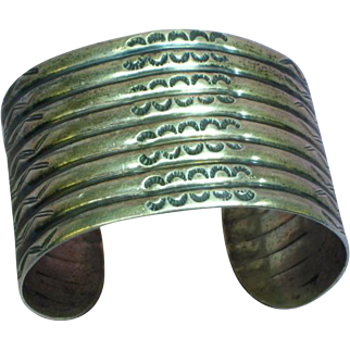 Native American Indian Sterling Stamped Cuff Bracelet