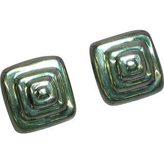 Sterling Silver Hollow Large Mexico Plata 925 Pierced Earrings