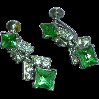 Bogoff Rhinestones  Wonderful  Design ca 1950 Screw Back Earrings