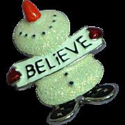 Vintage Glittered Enamel Snowman Pin Brooch