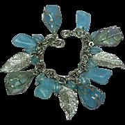 Vintage Blue Plastic Lucite Dangle Silvertone Charm Bracelet