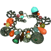 Superb Napier Asian Theme Vintage Large Chunky Silvertone Dangle Charm Bracelet