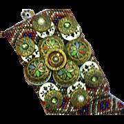Gorgeous Vintage Stacked Button Beaded Bracelet