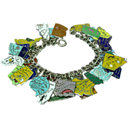 33 Enameled States Vintage Sterling Silver Charms Loaded Link Charm Bracelet