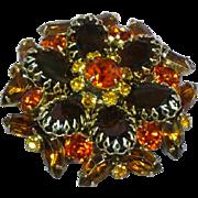 Schreiner Unsigned Citrine Amber Burnt Orange Rhinestone Collage Majestic Brooch Pin Vintage 1950s