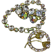 Vintage Weiss Signed Lavender Crystal Rhinestone Bracelet and Earring Set