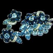EISENBERG Exquisite Beyond Brilliant Blue LARGE Rhinestone Pin / Brooch & Earrings In Original Gift Box
