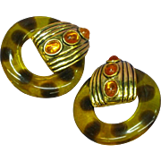 Gorgeous Huge Faux Tortoise Shell Lucite Hoop Vintage Clip Earrings