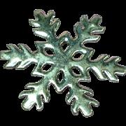 Large Silvertone  Snowflake Pin Brooch Pendant