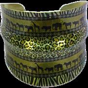 Vintage Large Ethnic Safari Animal Elephant Zebra Leopard Print Motif Cuff Bracelet