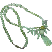 Rare Vintage Chinese Translucent Carved Greens Nephrite All Jade Carved Plum Pendant Beads Necklace