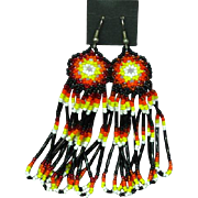 Indian Beaded Long  Vintage 1980s Pierced Earrings
