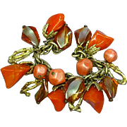 Bakelite Orange Marbled Gold tone Lucite Dangle Charm Bracelet