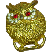 Owl Vintage Gold Tone Rhinestone Paved Eyes Brooch Pin