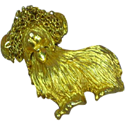 Robert Mandle Signed RARE Fabulous Shaggy Dog Pin Brooch