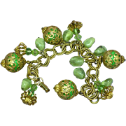 Green  Gold tone Lucite Dangle Charm Bracelet