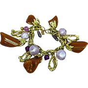 Bakelite Brown Marbled Gold tone Lavender Lucite Dangle Charm Bracelet