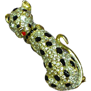 Rhinestones Enamel Marked 2005 Gold-Tone Leopard Pin Brooch