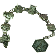 Vintage French Souvenir Tour Parisian Scenes Eiffle Tower Pendant, 1930s Sterling Silver Bracelet