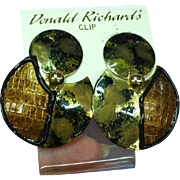 Donald Richards Designer Large Fashion NOS Clip Earrings