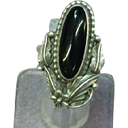 Native American Indian Signed Sterling Silver Onyx Long Ring