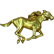 Napier Signed Horse and Jockey Amazing Detail Gold tone Pin Brooch