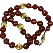 Vintage 12 mm Carnelian Gemstone Bead Gold Bead Hand Knotted Necklace