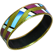 Vintage Signed Austria Michaela Frey 24kyg Plated Enamel Bangle Bracelet