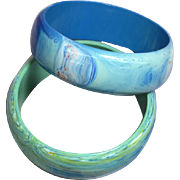 Pair of Blue Green Swirling Lucite Bangle Bracelets
