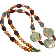 Vintage Faceted Natural Agate Polished Stone Necklace