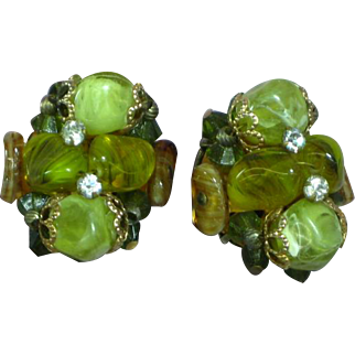Emerald Green Art Glass Bead Wired Crystals Rhinestones Clip Earrings