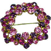 Signed Austria Fiery Pink Purple Rhinestone Wreath Circle Brooch Pin