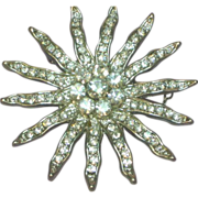50% OFF SALE Rhinestones Huge Dazzling Designer Sun Ray Pin Brooch