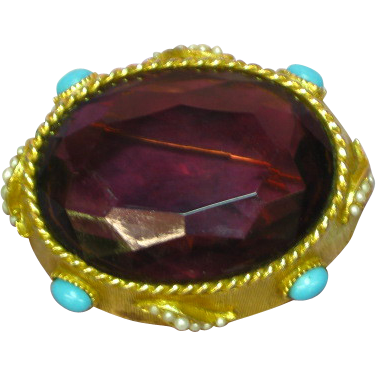 Capri Marked Giant Massive Purple Amethyst Color Stone Pin Brooch