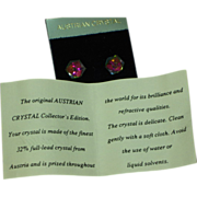Crystal  Austrian Color Changing Square Pierced Earrings