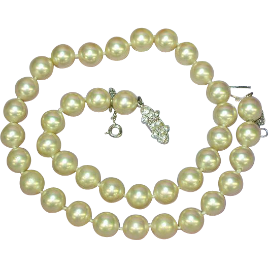 "Majorica Majorca Simulated Pearl Hand Knotted Single Princess Strand 17"" Necklace"