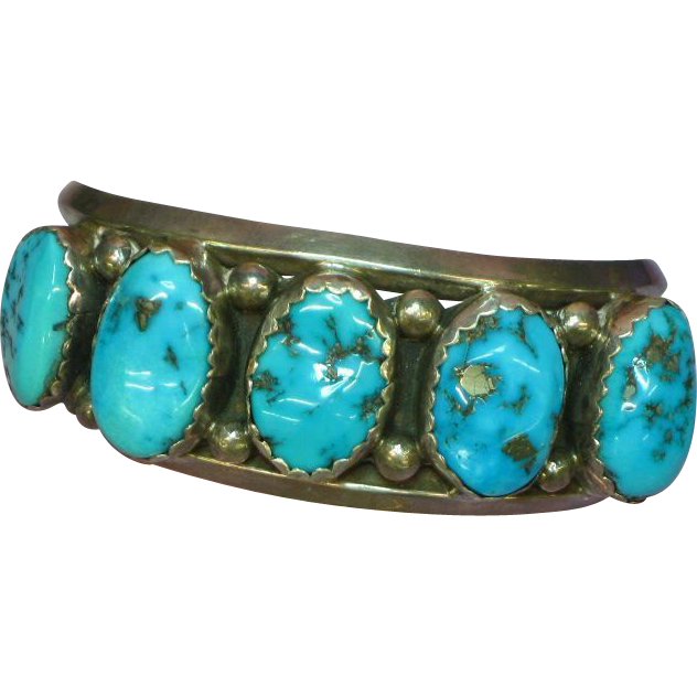 Native American Indian Signed Sterling Silver Large Cuff with Kingman Turquoise Bracelet