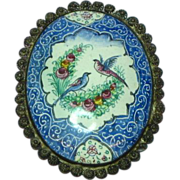 Enamel Persian Signed Qajar Flowers Birds Handpainted Sterling Silver Brooch Pin