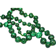 "Genuine Stone Malachite Stone Hand Rounded 24"" Bead Necklace"