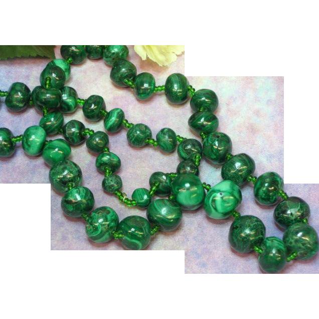 """Genuine Stone Malachite Stone Hand Rounded 24"""" Bead Necklace"""