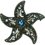 Rhinestones Black Japaned Star Fish Shape Vibrant Blue Brooch Pin