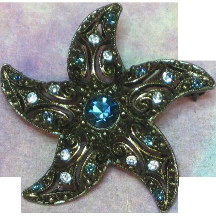 Rhinestones Black Japaned Star Fish Shape Vibrant Blue Brooch Pin