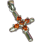 Crystals Petite Red,Orange Cross Sterling Silver Pendant - Red Tag Sale Item