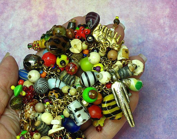 ... AFRICA Trade Beads and Vintage Jewelry Pieces, Jungle Charm Bracelet