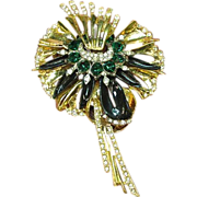 DeRosa,unsigned Estate 1940's Clear and Green Crystal Rhinestones Enamel Brooch
