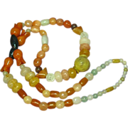 "Jade Mix Beads Incredible Multi Color Mix Sizes 26"" Necklace"