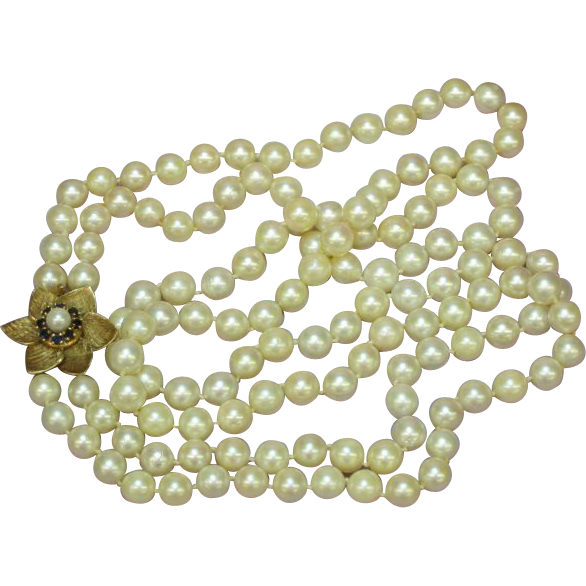 Pearls Double Strand Cultured Pearls Extravagant ! Necklace Sapphires 14k Gold Clasp