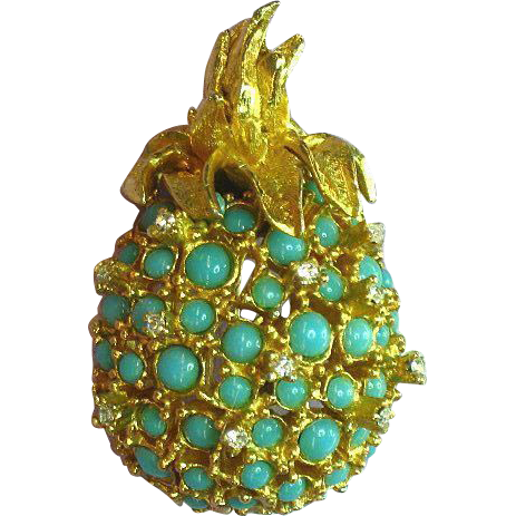 Alice Caviness Rhinestones Faux Turquoise Pineapple Pin,Brooch